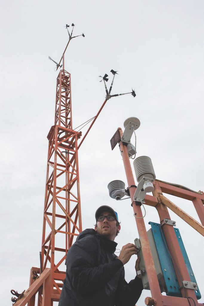 Brandon Czarzasty begins deploying the first instrumentation tower during Hurricane Irma.