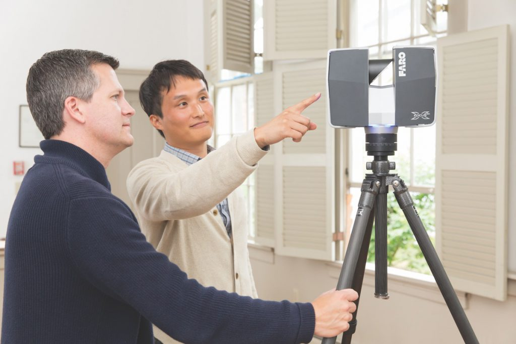 Hylton and doctoral candidate Sujin Kim use a laser scanner to document historic structures. The laser delivers a highly accurate point cloud that can be used to produce ethereal images.