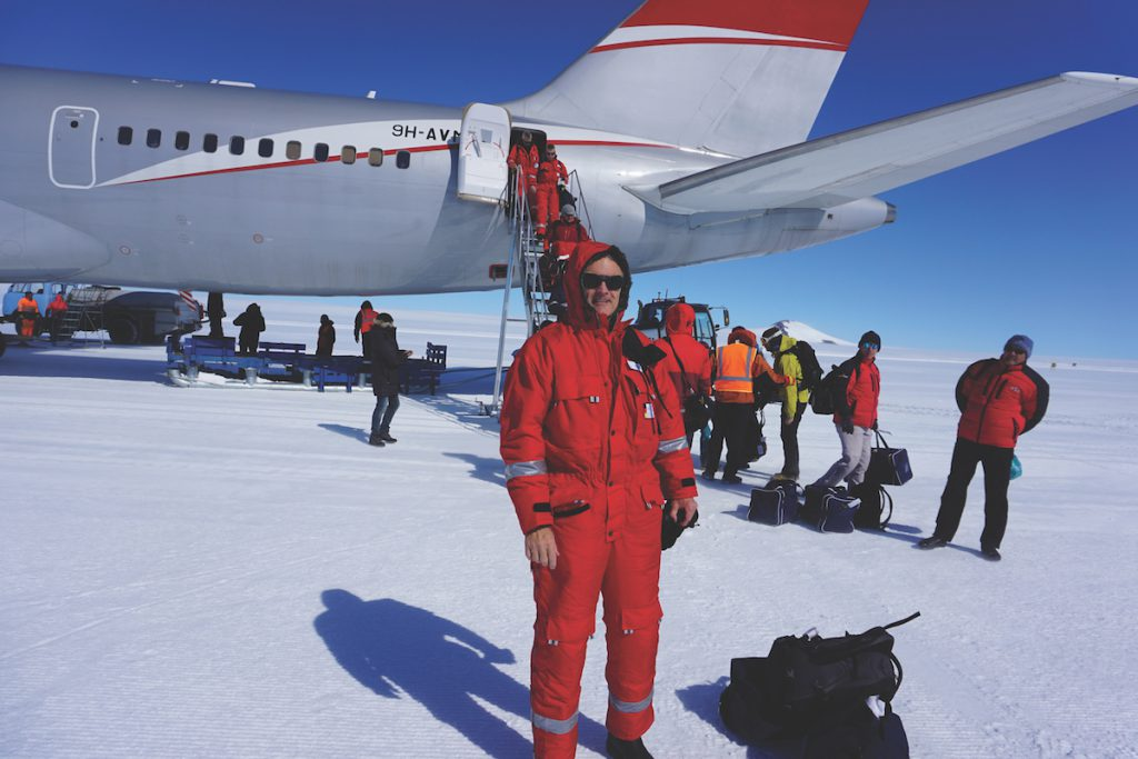 "As you get closer, they lower the temperature in the plane and you put on your overalls so you don't walk out of the plane and die instantly,"" Ferl jokes. In reality, he says, the temperature during the Antarctic summer was usually in the 20s and that the bigger threat was sunburn and snow blindness."