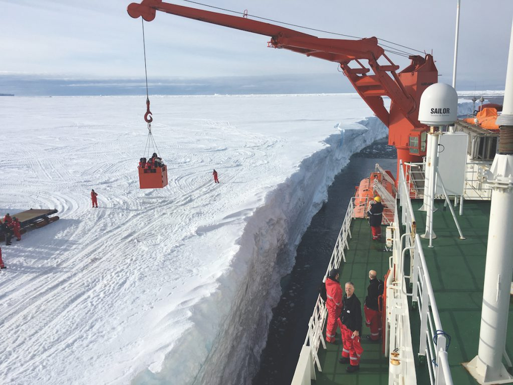 "The arrival of a resupply ship is cause for celebration. There are no docks, so the ship just pulls up close to the ice shelf and holds its position with thrusters while transferring people and cargo back and forth. Paul says it wasn't until she actually stood on the ice shelf and stared hundreds of feet down to the ocean that she fully appreciated how abruptly it ended. ""It really is a shelf. Huge pieces can break off and become icebergs."""