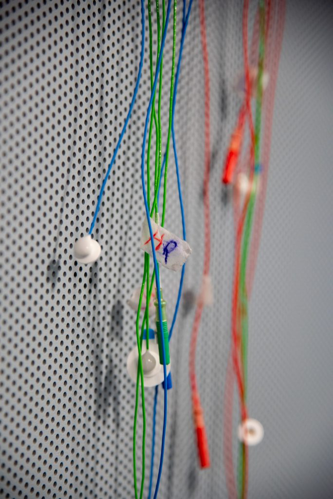 Electrodes hanging on wall of BLaB, the Brain, Language and Bilingualism lab