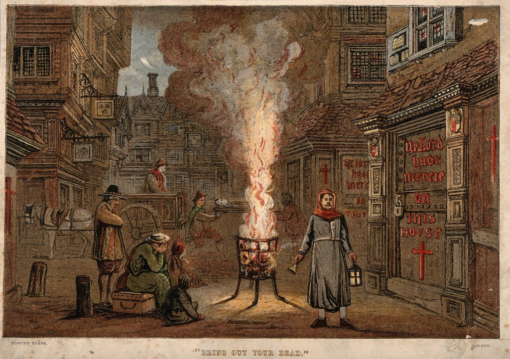 """Bring Out Your Dead"" A street during the Great Plague in London, 1665, with a death cart and mourners."