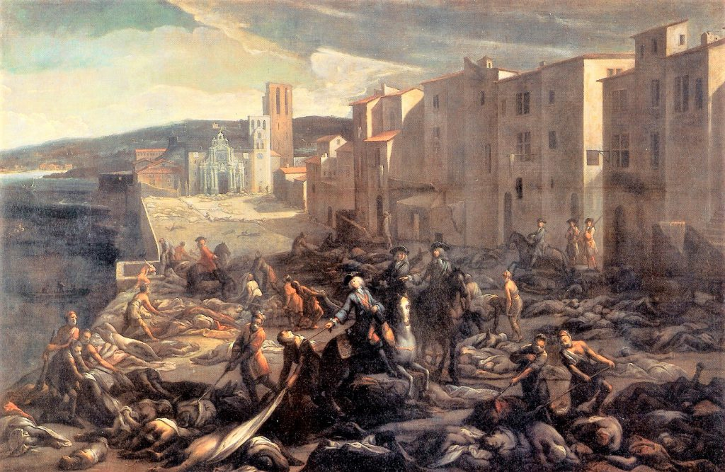 Painting of Marseille during the outbreak of a pandemic in 1720 by Michel Serre