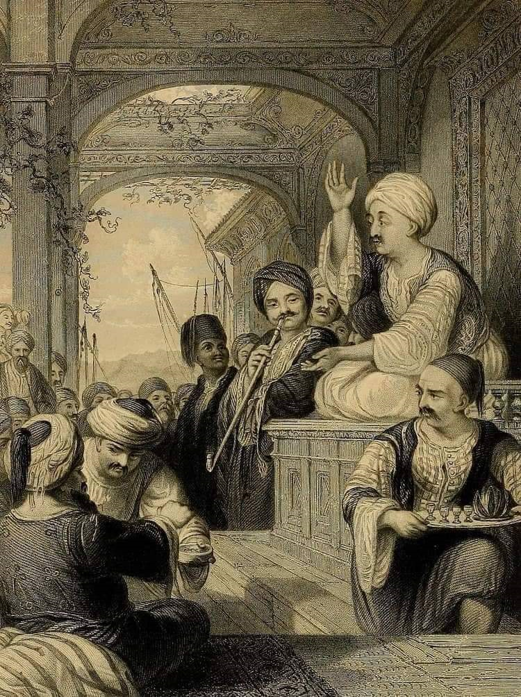 Historic image of a storyteller coffeehouse in the Ottoman Empire.