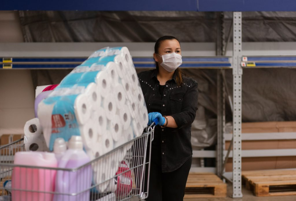 Pandemic shopper stocking up on toilet paper and other essentials.