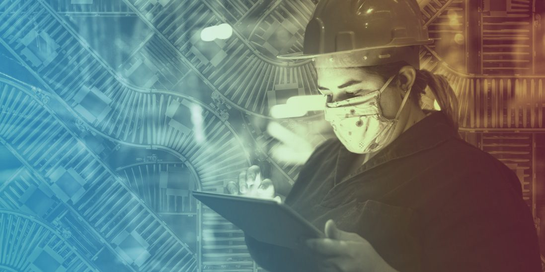 Collage of factory worker wearing a mask with conveyor belts super-imposed in background.