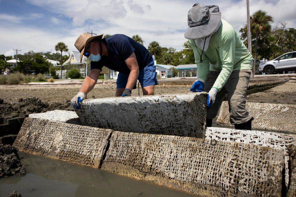 The reef prisms are designed to control shoreline erosion, protecting Cedar Key's streets.