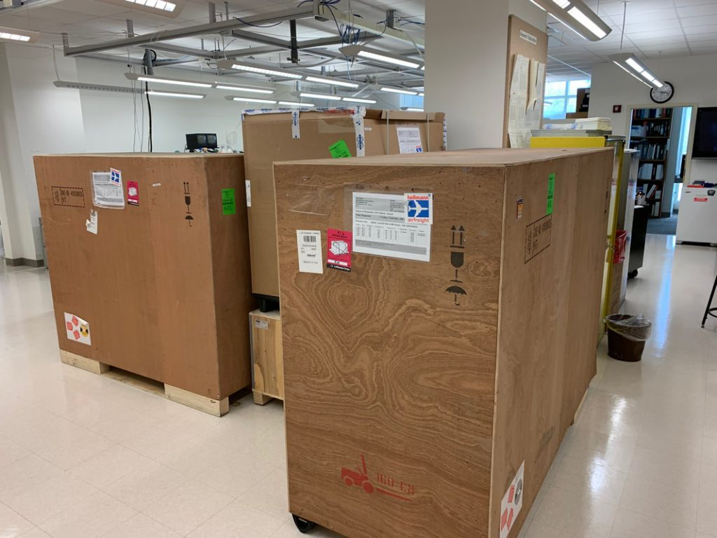 The new mass spectrometry equipment arrived in multiple large boxes. Photo by Sixue Chen.