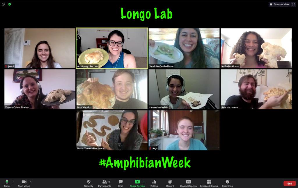 Ana Longo's class celebrates Amphibian Week via Zoom meeting.
