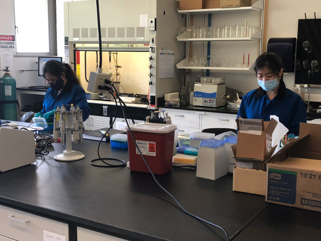 Researchers working in lab while wearing PPE and maintaining their distance.