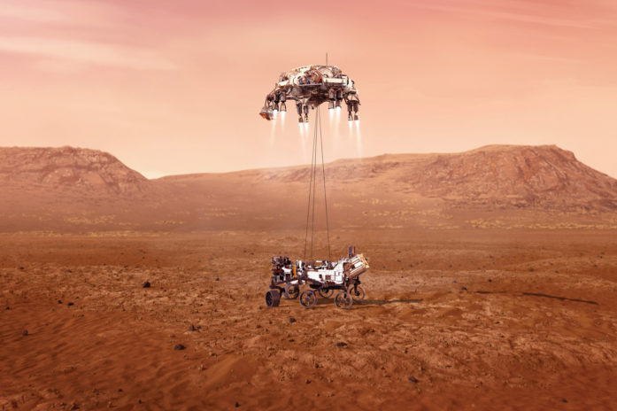 Feature image of Perseverence Rover landing on Mars' surface. Artist rendering by NASA/JPL.