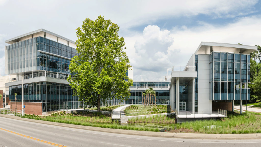 Panoramic photo of UF's Clinical and Translational Research Building