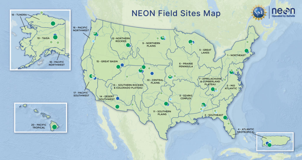 NSF map of NEON Field Sites